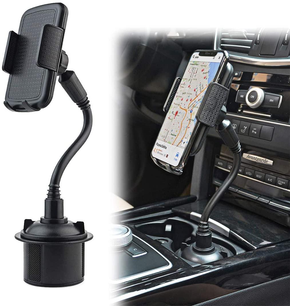 Car Cup Holder Phone Mount, Gresur Adjustable Gooseneck Smart Phone Car Cradle for iPhone 7 7P 8 8P X XS XR/Samsung Galaxy S10 S9 / Huawei Universal Hands Free Phone Holder