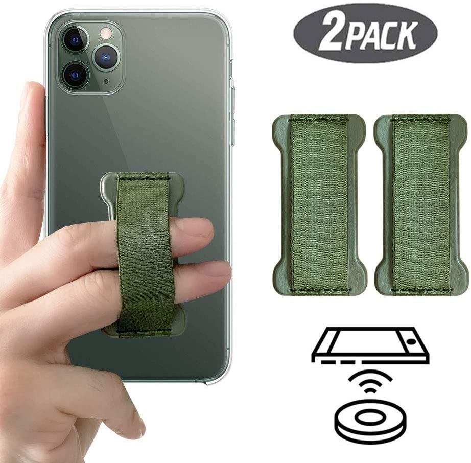[2PC] WUOJI Finger Strap Phone Holder - Ultra Thin Anti-Slip Universal Cell Phone Grips Band Holder for Back of Phone (DarkGreen)