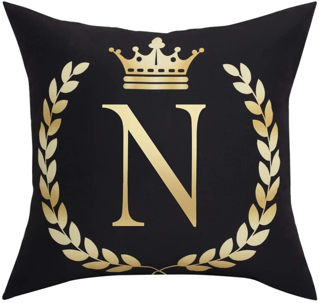 Black Pillow Cover Throw Pillow Case English Alphabet N Throw Pillow Case Modern Cushion Cover Square Pillowcase Decoration for Sofa Bed Chair Car 18 x 18 Inch