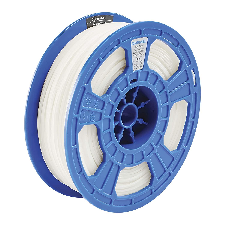 Dremel DigiLab PLA-TRA-01 3D Printer Filament, 1.75 mm Diameter, 0.75 kg Spool Weight, Color Translucent, RFID Enabled, New Formula and 50 Percent More per Spool