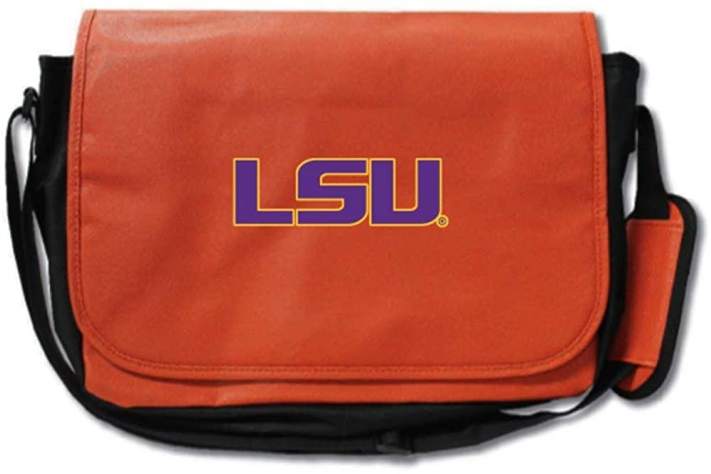 Zumer Sport LSU Tigers Basketball Leather Laptop Computer Case Messenger Shoulder Bag - made from actual basketball materials - Orange
