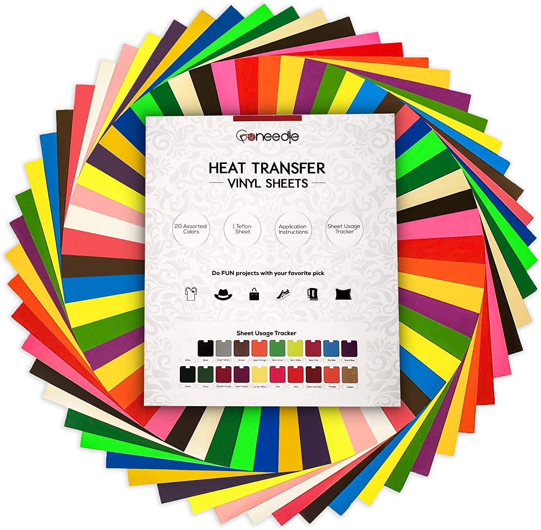 Heat Transfer Vinyl HTV Bundle: 20 Pack Assorted Colors 12x10 Sheets for DIY Iron On T-Shirts Fabrics - Seamless Integration with Cricut, Silhouette Cameo, Heat Press Machines | Bonus Teflon Sheet