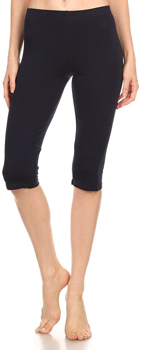 Stretch Cotton Bodysuit Women Soft Stretch Sports Yoga Skinny Capri Length Cotton-Spandex Leggings Tights (&Plus)