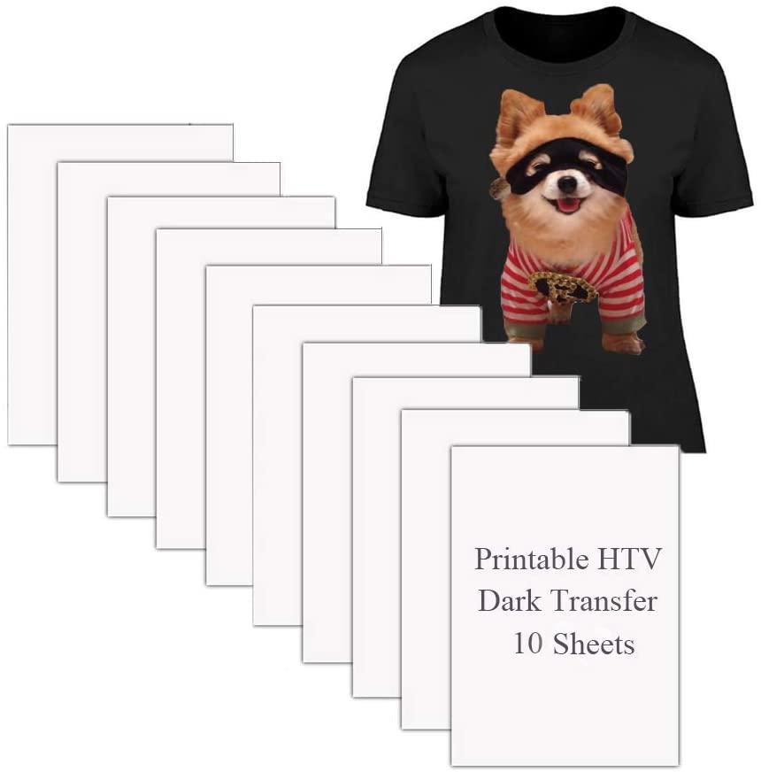 Printable HTV Heat Transfer Vinyl for Inkjet Printers Iron-On Dark T-shirt Fabric Transfer A4 Size, 10 Sheets