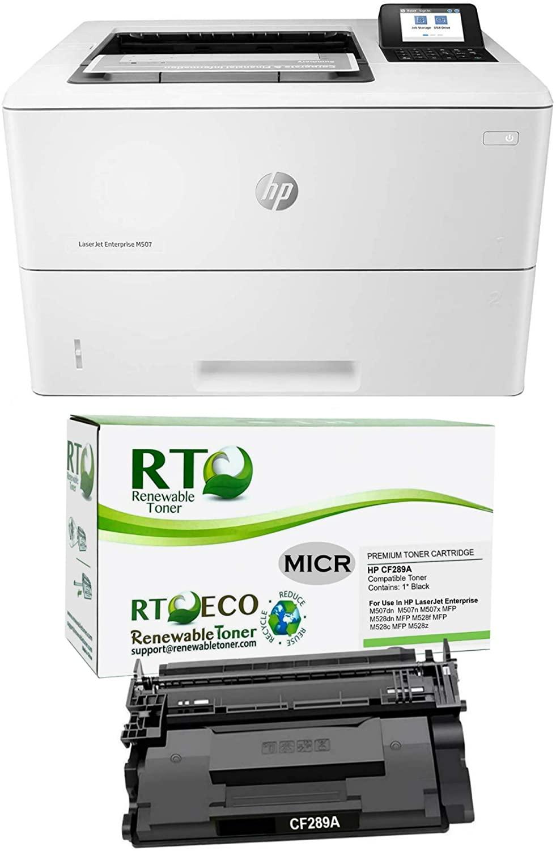 Renewable Toner Laserjet Enterprise M507n Laser Printer Bundle with 1 HP CF289A MICR Cartridge for Check Printing