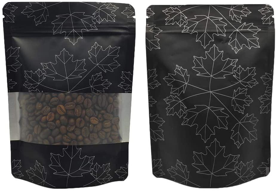 QQ Studio 100 Matte Stand-Up Food Grade Design Storage with Clear Window Ziplock Bags (12oz (7.5