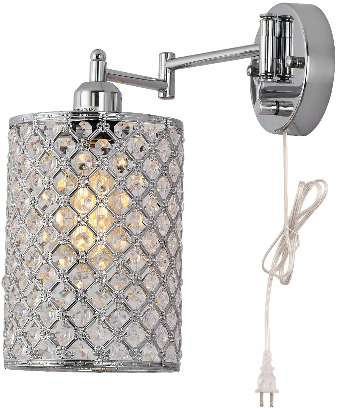 Kingmi Dimmable Crystal Industrial Swing Arm Wall Sconce Plug-in Wall Light On/Off Rotary Switch on backplates 4.9-Foot Clear Cord