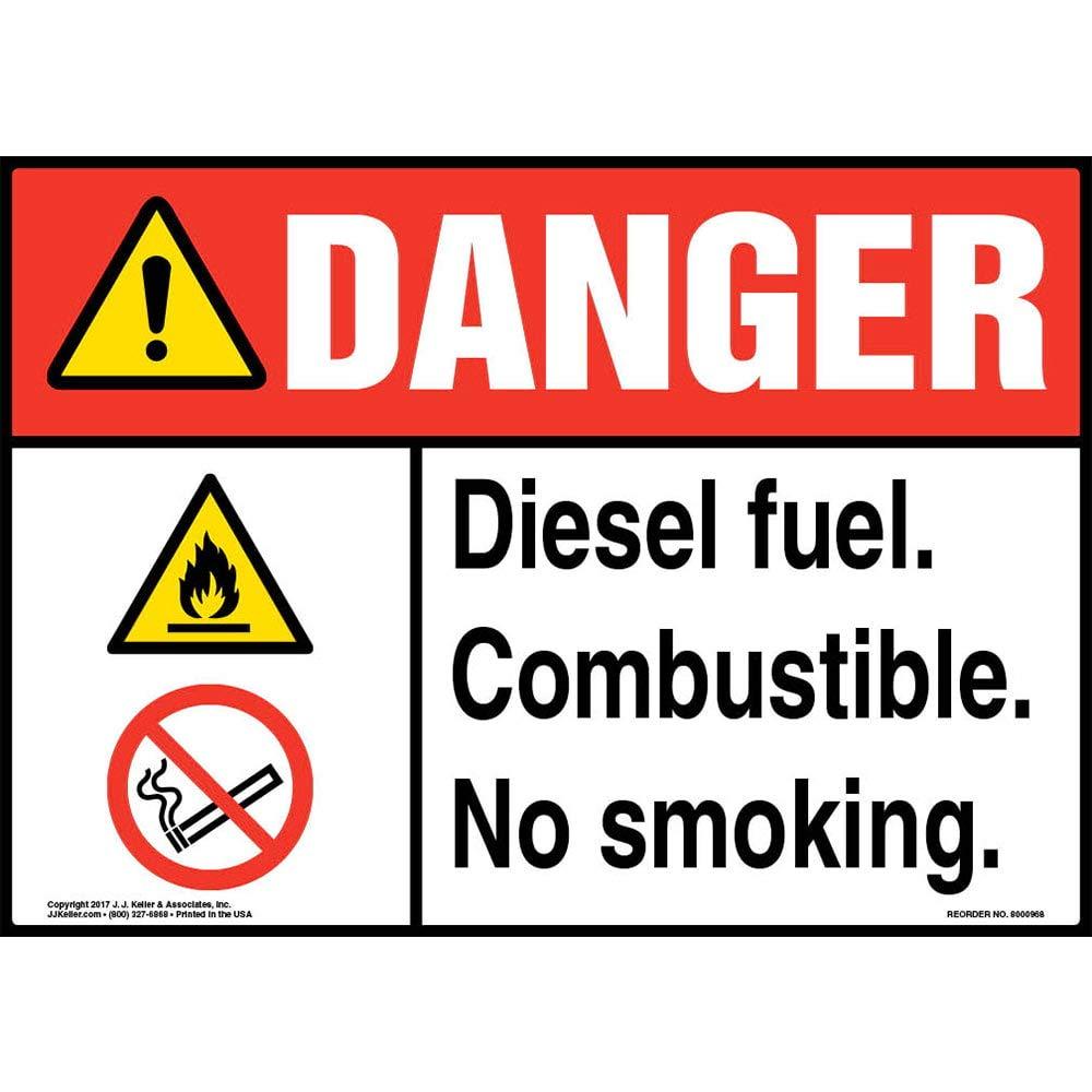 Danger: Diesel Fuel Combustible, No Smoking Sign - J. J. Keller & Associates- 14