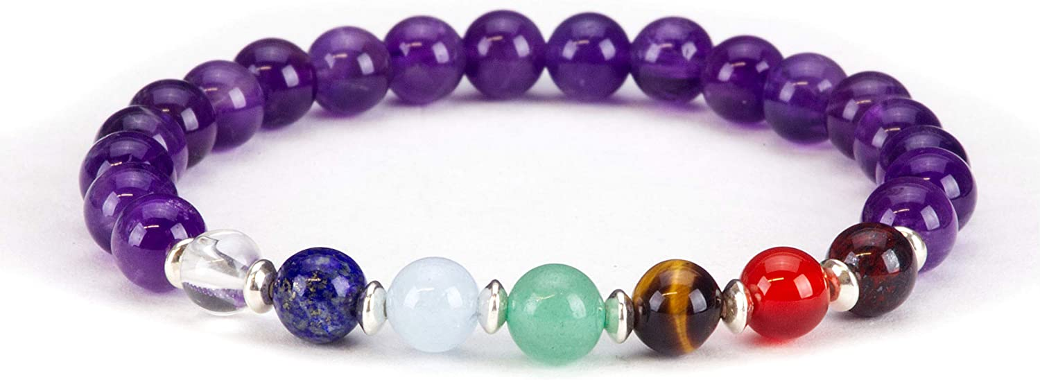 Cherry Tree Collection Natural Genuine Gemstone Chakra Stretch Bracelet | 6mm Beads, Sterling Silver Spacers | Men/Women | Small, Medium, Large Sizes