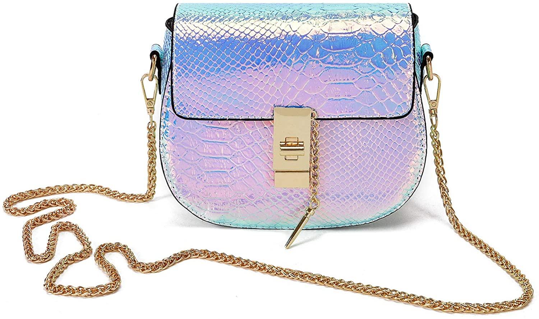 Freie Liebe Women Hologram Laser Shoulder Bag Shiny Charming Holographic Chain Handbag Crossbody Bag Purse