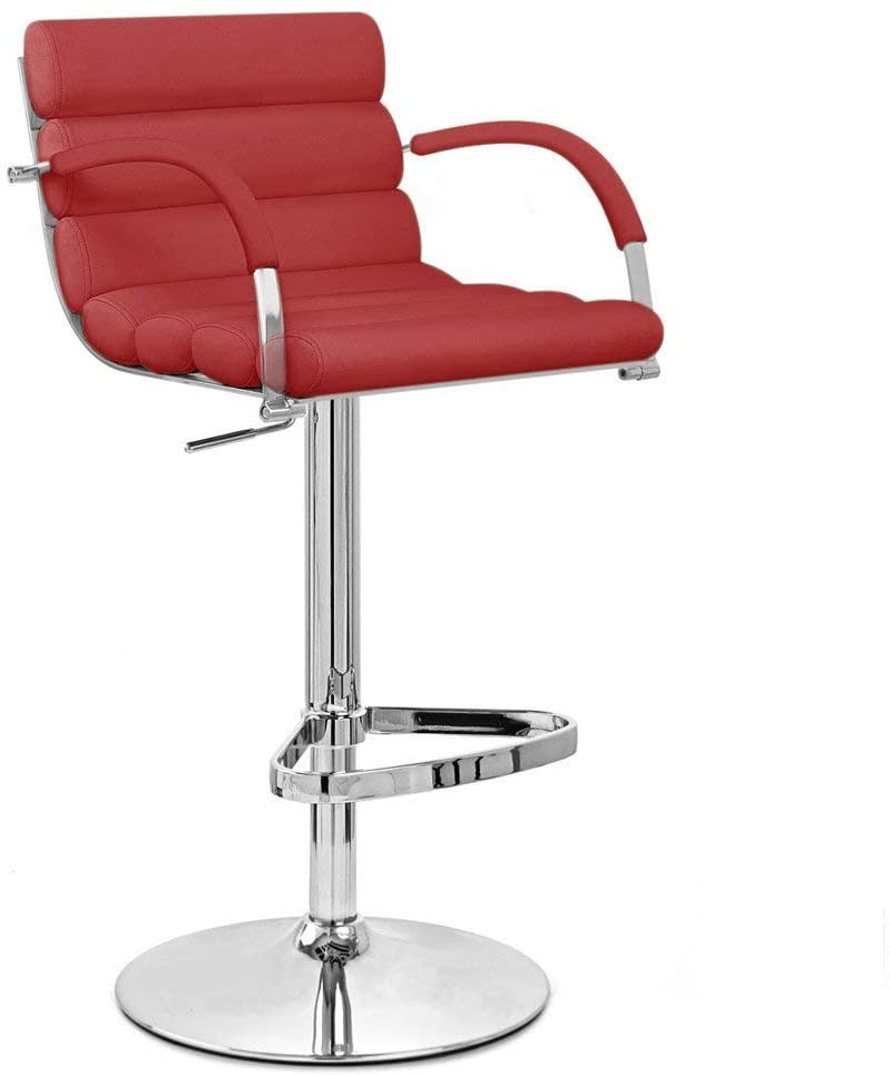 Zuri Furniture Red Ego Adjustable Height Swivel Bar Stool with Chrome Base