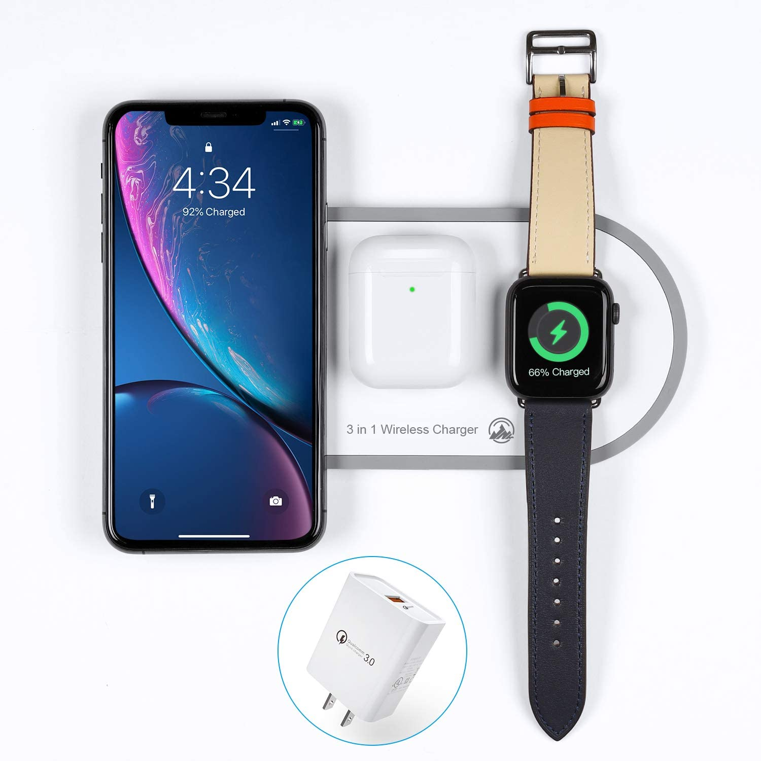 2020 Upgraded Wireless Charger 3 in 1 Wireless Charging Pad Fast Apple Charge Dock Station for Air Pods Pro 1 2 iWatch Series1 2 3 4 5 iPhone 8 8 Plus X Xr Xs Max 11 11 Pro Max with QC 3.0 Adapter