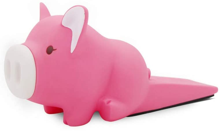 Rubber Door Stopper Cartoons Creative Cute Pig Door Block for Child Safety Guards, Resistant Grip Finger Protector(Pink)