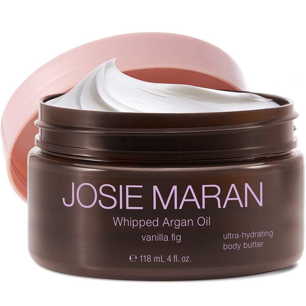 Josie Maran Whipped Argan Oil Body Butter - Immediate, Lightweight, and Long-Lasting Nourishment to Soften and Hydrate Skin (4 fl oz/118ml, Vanilla Fig)