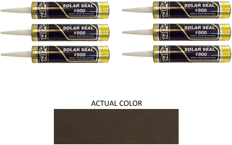 NPC #900 Solar Seal 3 Pack - Metal Roofing Flashing/Panels, Vinyl and Fiber Cement Siding, Fiberglass, Cedar, Brick & Masonry, Sky Lights, Sun Rooms, Truck RV Trailers, Flashing (6, Dark Bronze)