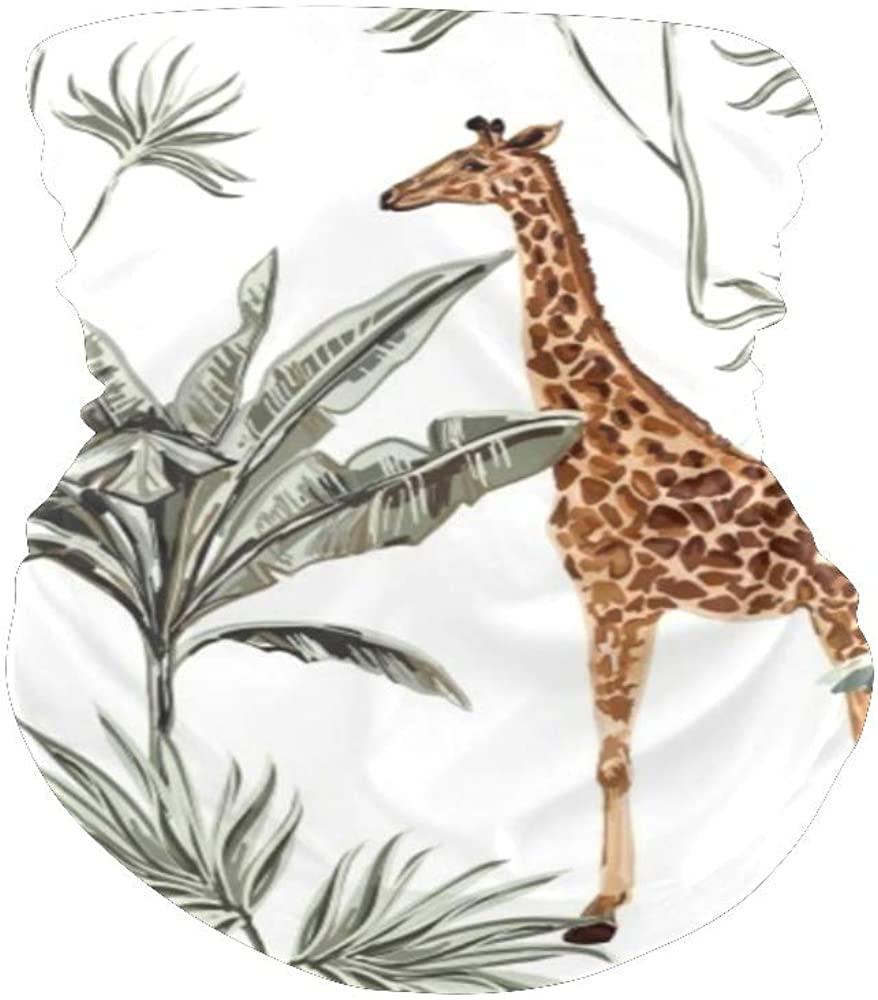 XOZOTY Balaclava Face Scarf Bandanas Tropical Tree Giraffe Lion Neck Gaiter for Festival Out Doors Dust UV Protection