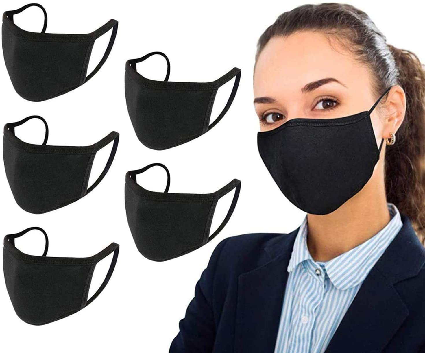 5 Pack Fashion Full Protection Cotton Face Bandanas,Unisex Black Reusable Fashionable and Washable Dust Cotton Fabric,Indoors Outdoors
