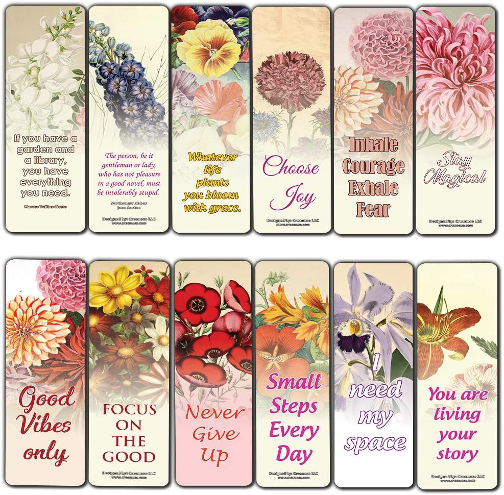 Creanoso Inspirational Sayings Pretty Flower Bookmarks (30-Pack) – Stocking Stuffers Gift for Men & Women, Teens – Awesome Bookmark Collection – Book Reading Rewards Incentives – Page Binder