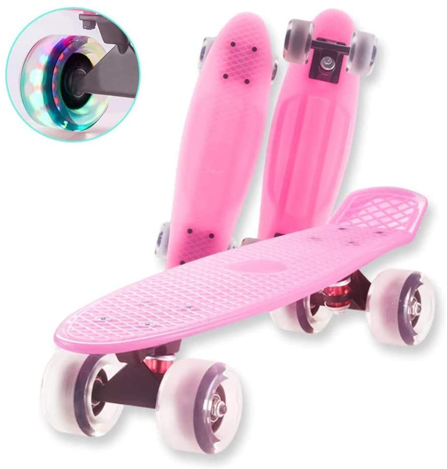 Skateboard Complete Mini Cruiser Retro Skateboard for Kids Teens Adults, Skate Board for Boys Girls Youths Beginners with Colorful LED Light Up Wheels