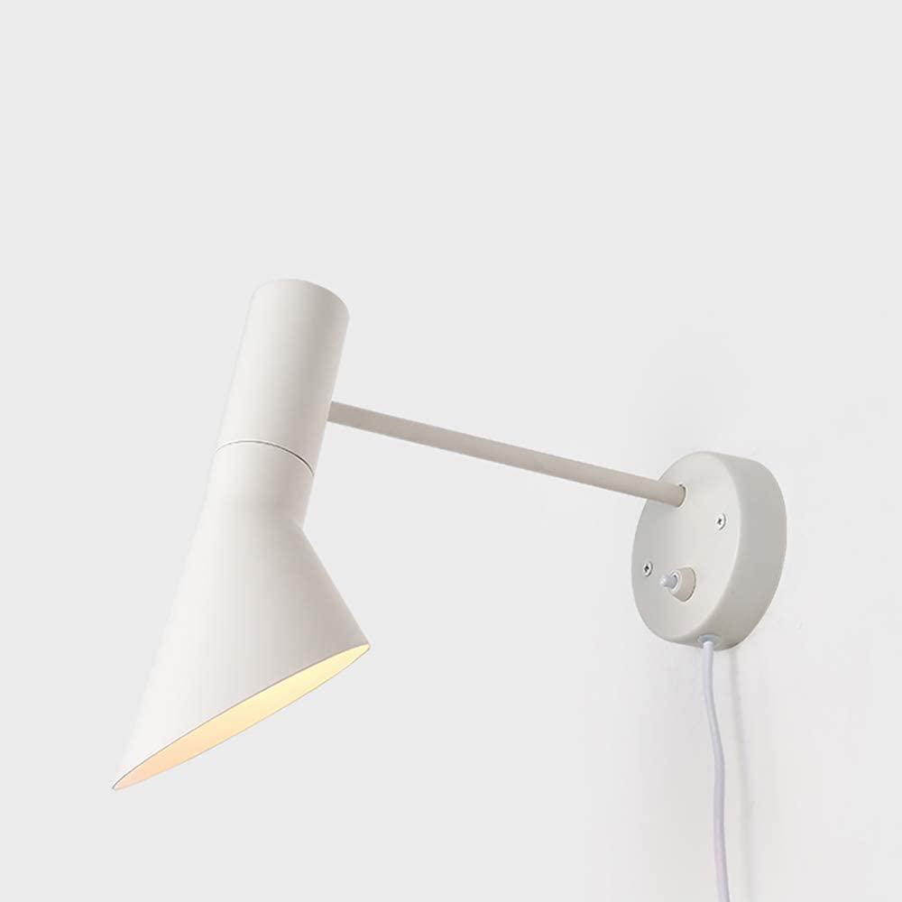 Modern Wall Light Metal Sconce Wall Lamp Fixture Vintage Wall Light Fixture Indoor Home Arm Swing Wall Lights E12holder (White)