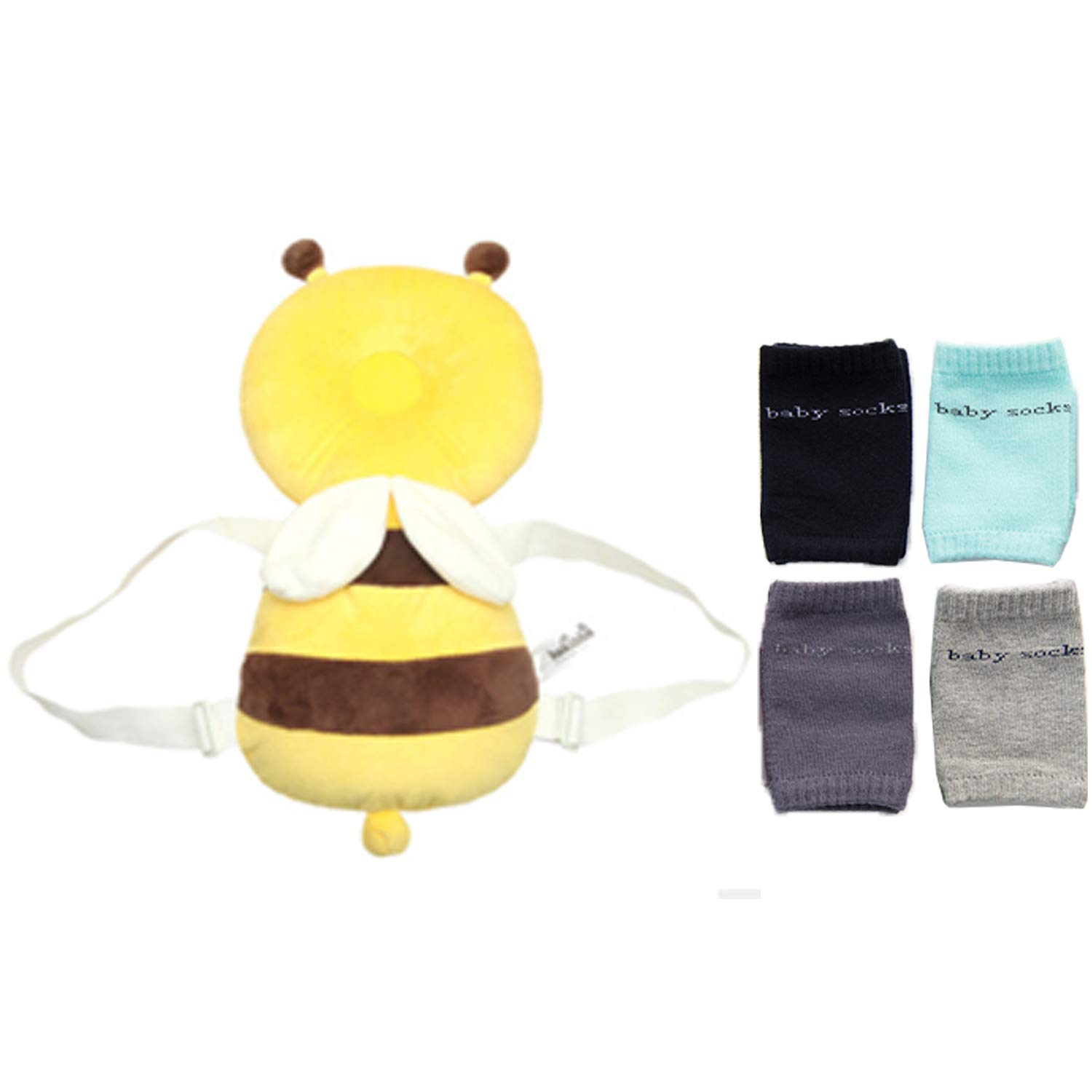 Baby Cotton Head Protector & Baby Anti Slip Knee Pads for Crawling Adjustable Unisex Toddlers Head Back Protection for Walking Infant Leg Warmers Form 5 Months (Yellow bee)