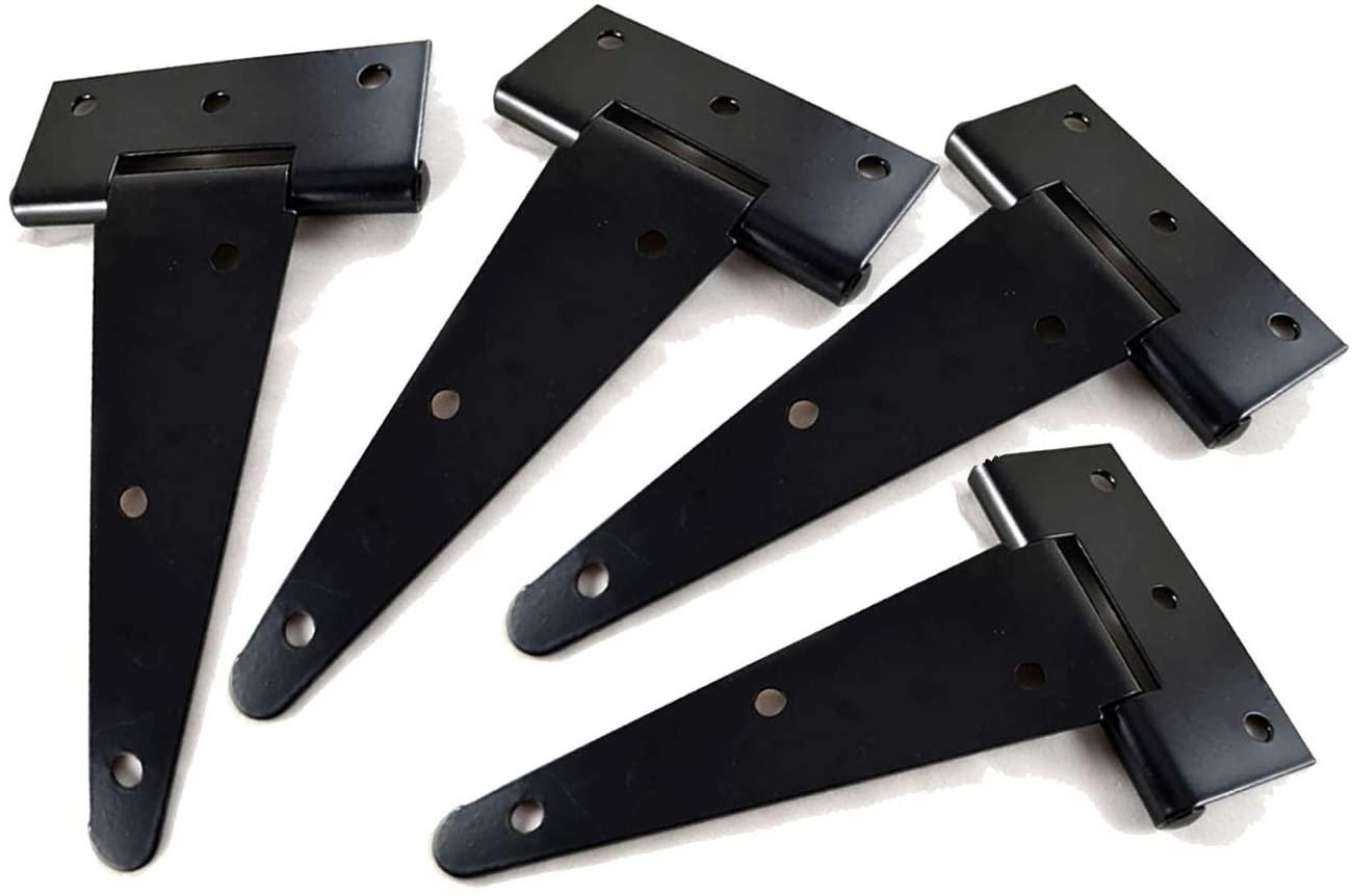 T&B T-Strap Light Duty Hinge Gate Strap Hinge Door Barn Gates Hinges Black Wrought Hardware Iron Rustproof 4PCS (6inch)