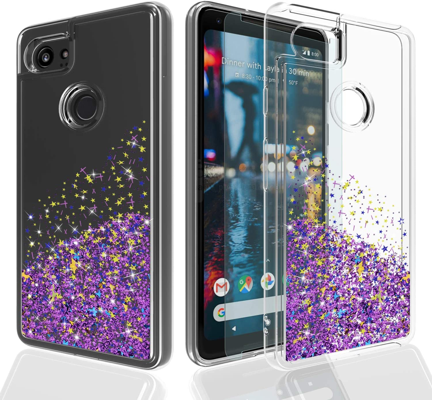 Pixel 2 XL Case,Google Pixel 2 XL Case,Google Pixel 2 XL Phone Cases with HD Screen Protector,Ayoo Teen Girls Women Bling Liquid Luxury Glitter Sparkle Soft TPU+PC Case for Google Pixel 2 XL-XX Purple