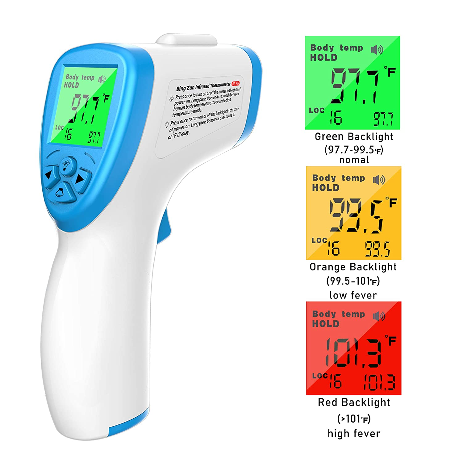 High Speed Non-Contact Digital Thermometer Scanner Gun Forehead Thermometer for Baby Adults IR Digital Infrared Thermometer Ear with Fever Alarm
