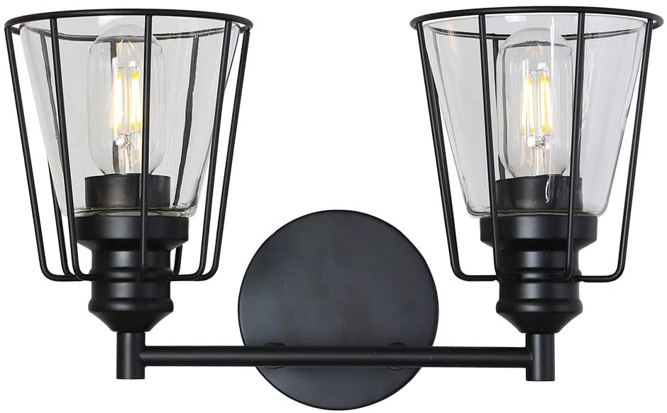 VINLUZ Bathroom Vanity Light Over Mirror 2 Lights Black Modern Wall Lighting Fixture Metal Cage Farmhouse Rustic Sconce Wall Mounted Lamp Clear Glass Shade for Stairway Porch Restaurants Kitchen