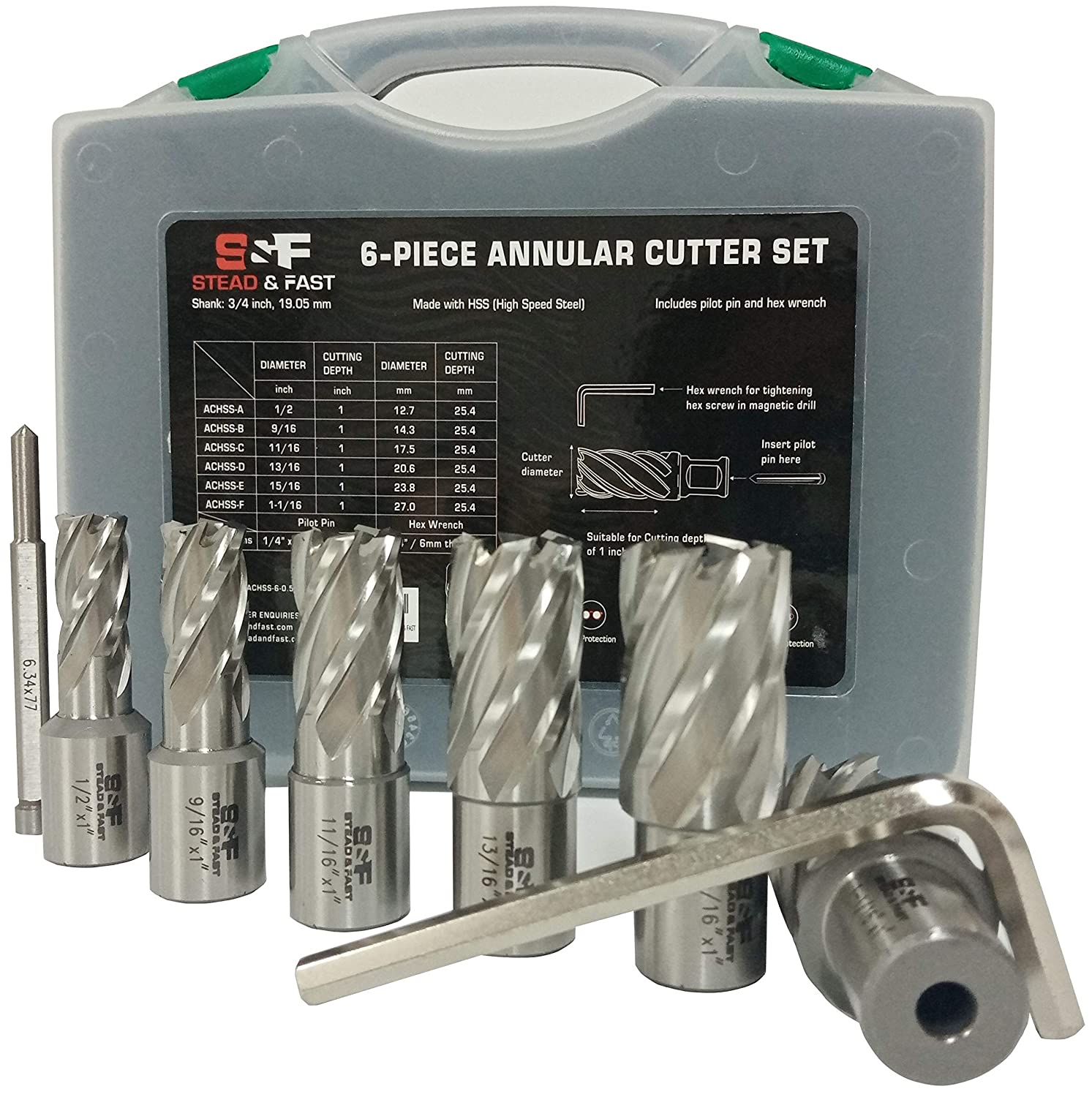 "Annular Cutter Set 6 Pcs, Weldon Shank 3/4"", Cutting Depth 1"", Outside Diameter 1/2 to 1-1/16 Inch, Mag Drill Bits Kit for Magnetic Drill Press by S&F STEAD & FAST"