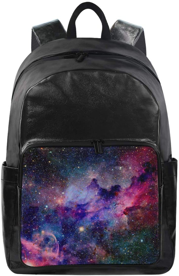 ALAZA Galaxy And Nebula In Space Large Canvas Backpack Water Resistant Laptop Bag Travel School Bags with Multiple Pockets for Men Women College
