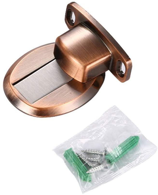 XQK Magnetic Door Stops, Invisible Magnetic Stainless Steel Door Holders Catch Floor Nail-Free Door Furniture Stoper Accessory (Bronze)