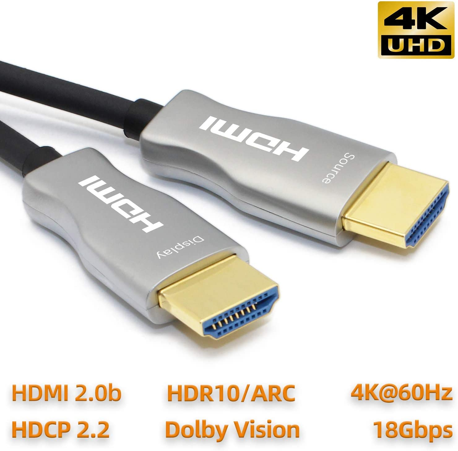 MavisLink Fiber Optic HDMI Cable 35ft 4K 60Hz HDMI 2.0 Cable 18Gbps HDMI Cord Support ARC HDR HDCP2.2 3D Dolby Vision for Blu-ray/TV Box/HDTV / 4K Projector/Home Theater