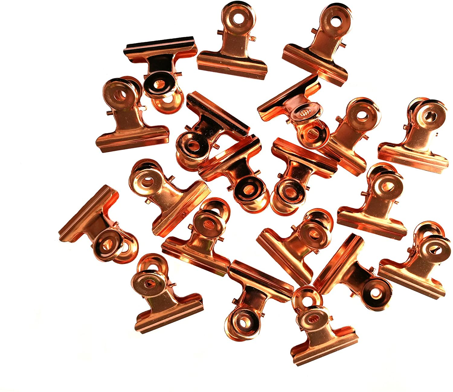 Metal Bulldog Clips, 1.25 Inches, Pack of 20 (Rose Gold)