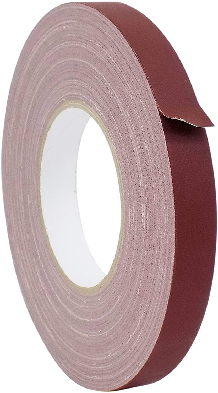 WOD GTC12 Gaffer Tape, Burgundy Low Gloss Finish Film, 1/2 inch x 60 yds. Residue Free, Non Reflective Cloth Fabric, Secure Cords, Water Resistant, Photography, Filming Backdrop, Production