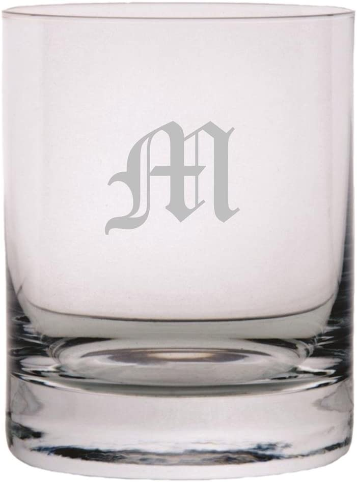 Old English Etched Monogram 11oz Stolzle New York Crystal Rocks Glass (Letter M)