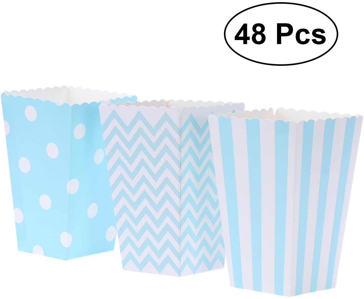 TOYMYTOY Popcorn Boxes,Cardboard Popcorn Containers for Party Favor,48pcs (Black)