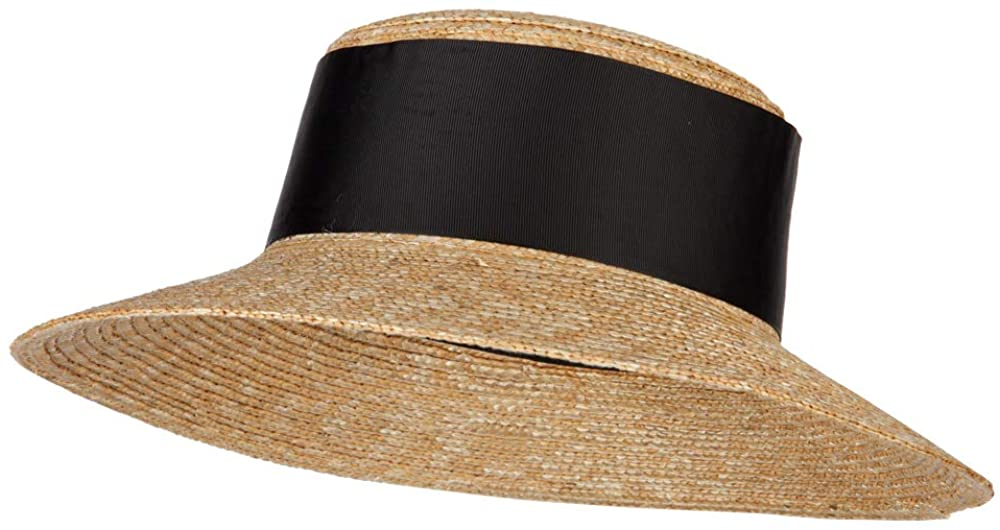 e4Hats.com Women's Straw Wide Band with Pom Pom Accented Boater Hat