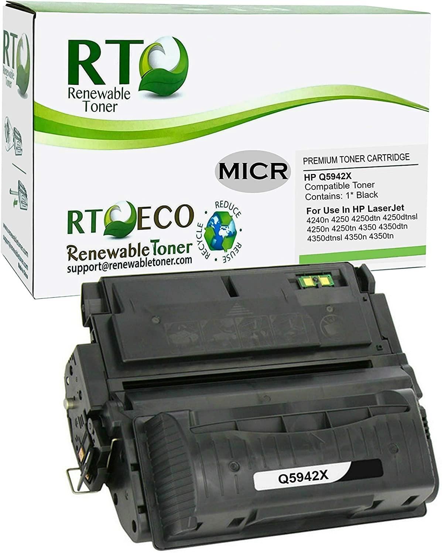 Renewable Toner Compatible MICR Toner Cartridge High Yield Replacement for HP 42X Q5942X Laserjet 4250 4350