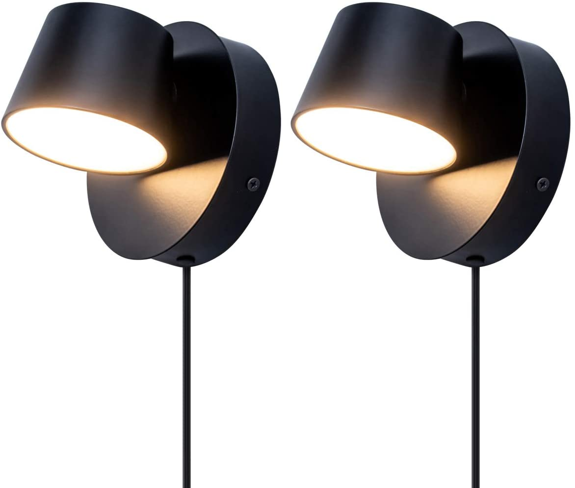 VILUXY Modern LED Bedside Wall Sconce Plug-in Cord with Switch Lighting Fixture 350 Rotation Adjustment Black Wall Lamp for Bedroom 6W 3000K 2 Pack