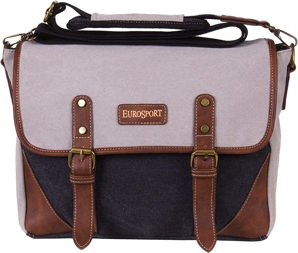 Eurosport Canvas Extra Large Messenger Bag for Storage and Laptop Black/Grey B912