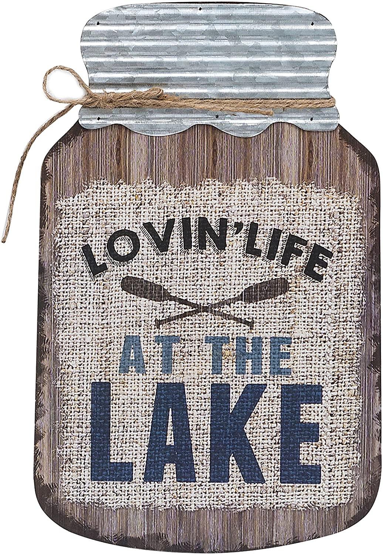 Barnyard Designs Lovin Life at The Lake Mason Jar Decorative Wood and Metal Wall Sign Vintage Lake House Decor 14