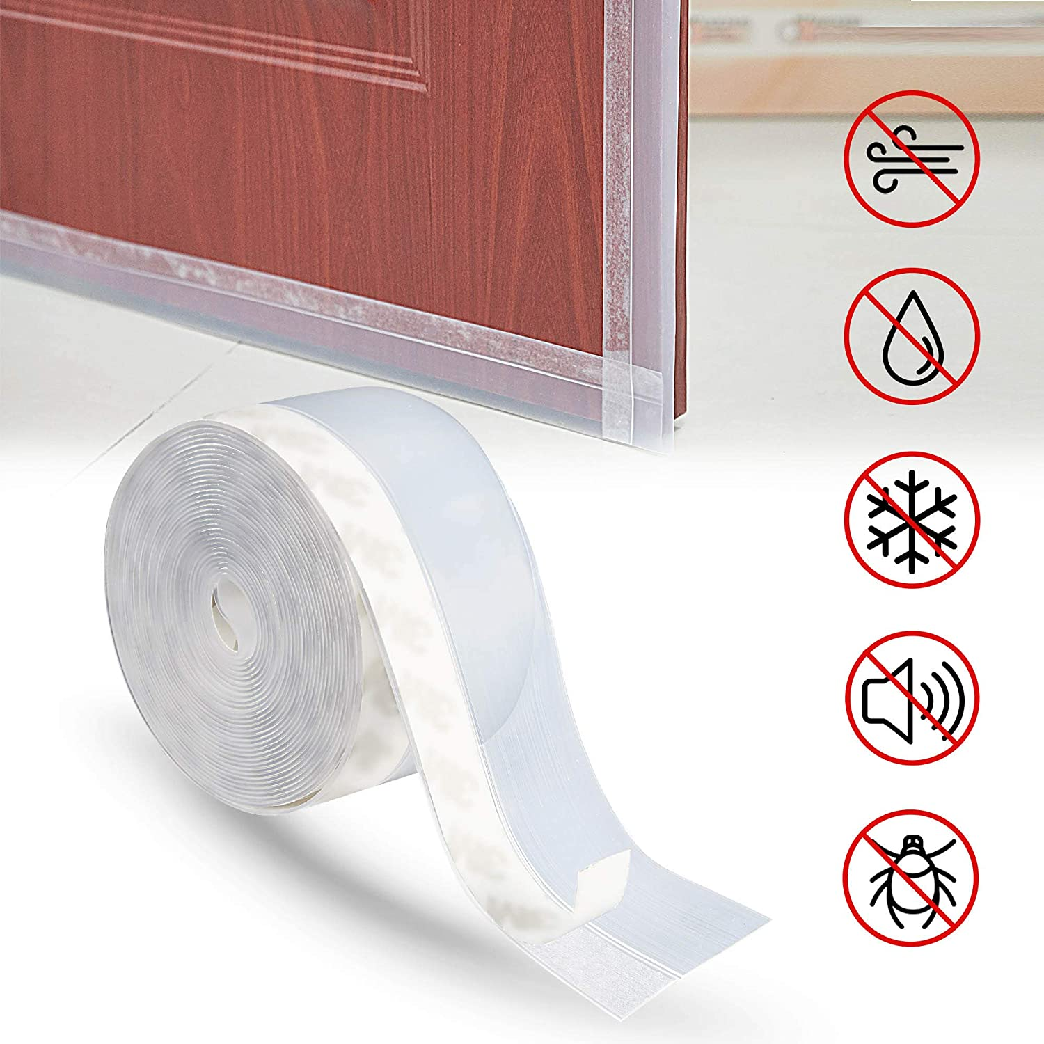 TOMALL Door Weather Stripping Bottom/Side,Silicone Seal Strip,Weather Stripping Door Seal Strip,Door Draft Stopper Clear (45MM x 16.4 FT)