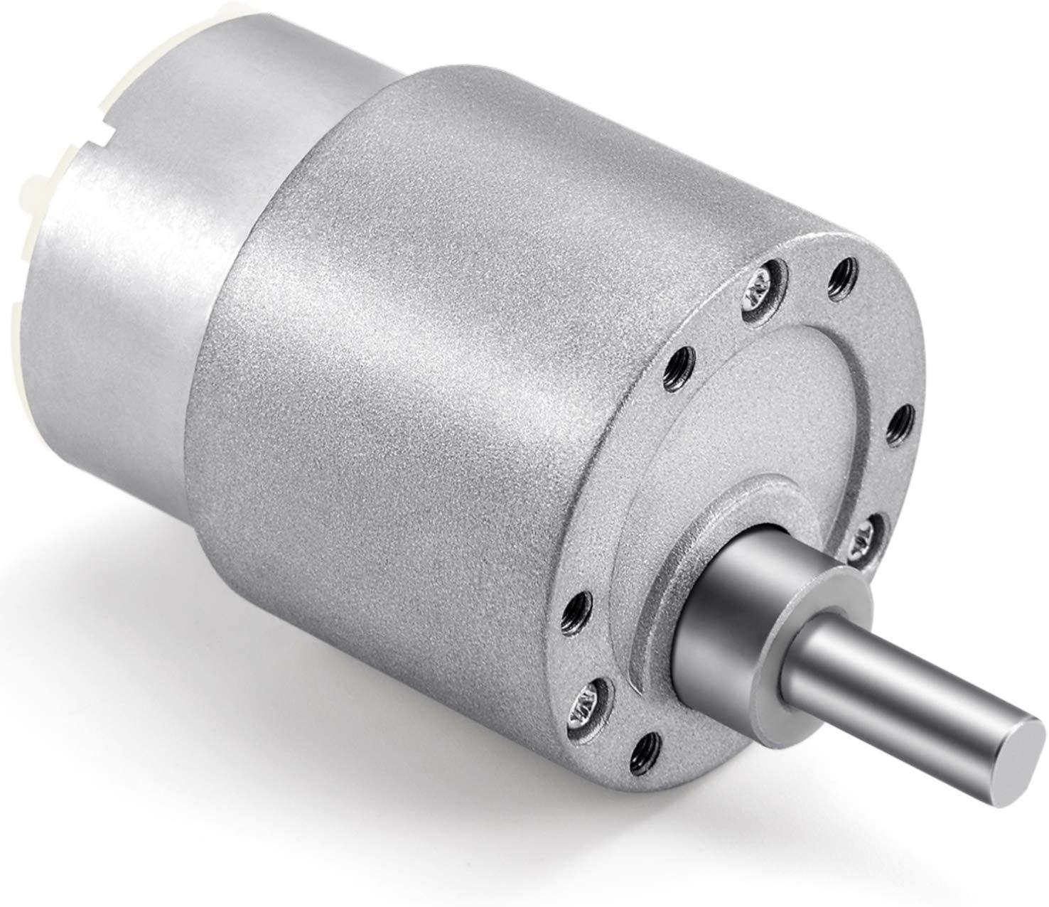 Kohree High Torque DC Motor, 12V 60 RPM Electric Gear Box 37mm Centric Output Shaft Gearbox Motor