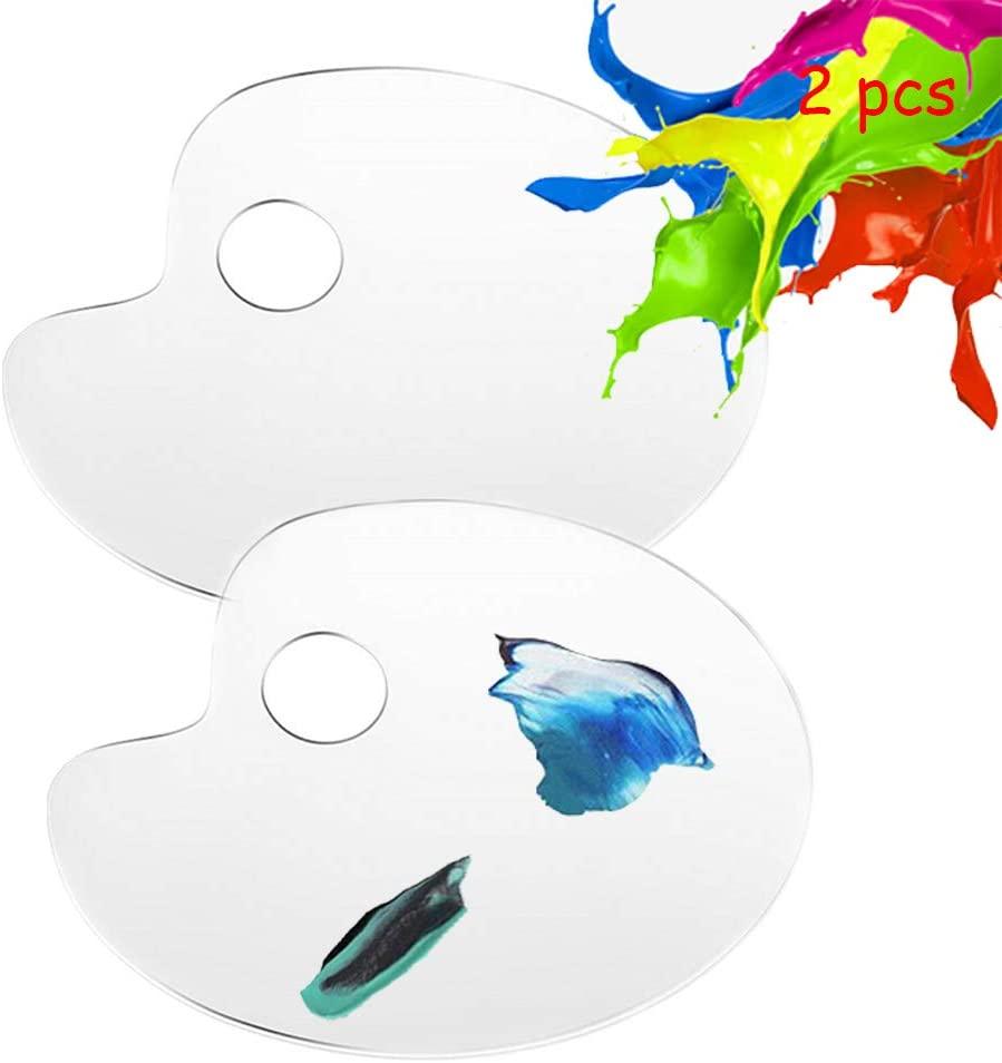 Newmemo Acrylic Paint Palette, 2pcs Clear Art Palette for Adults Kids, Transparent Non-Stick Artist Paint Mixing Tray Palette, Oil Paint Palette Watercolor Palette Art Paint Pallet Painting Supplies