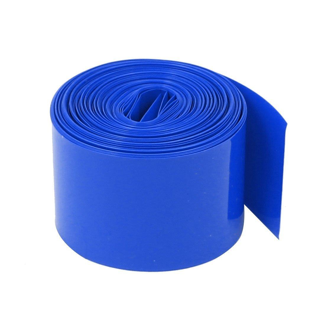 Othmro 75mm Flat Width 5.5m Length PVC Heat Shrink Tubing Blue for 18650 Battery Pack