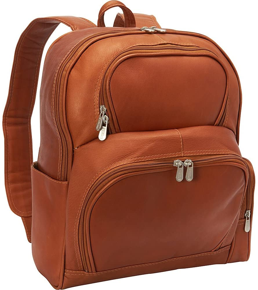 Piel Leather Half-Moon Laptop Backpack, Saddle, One Size