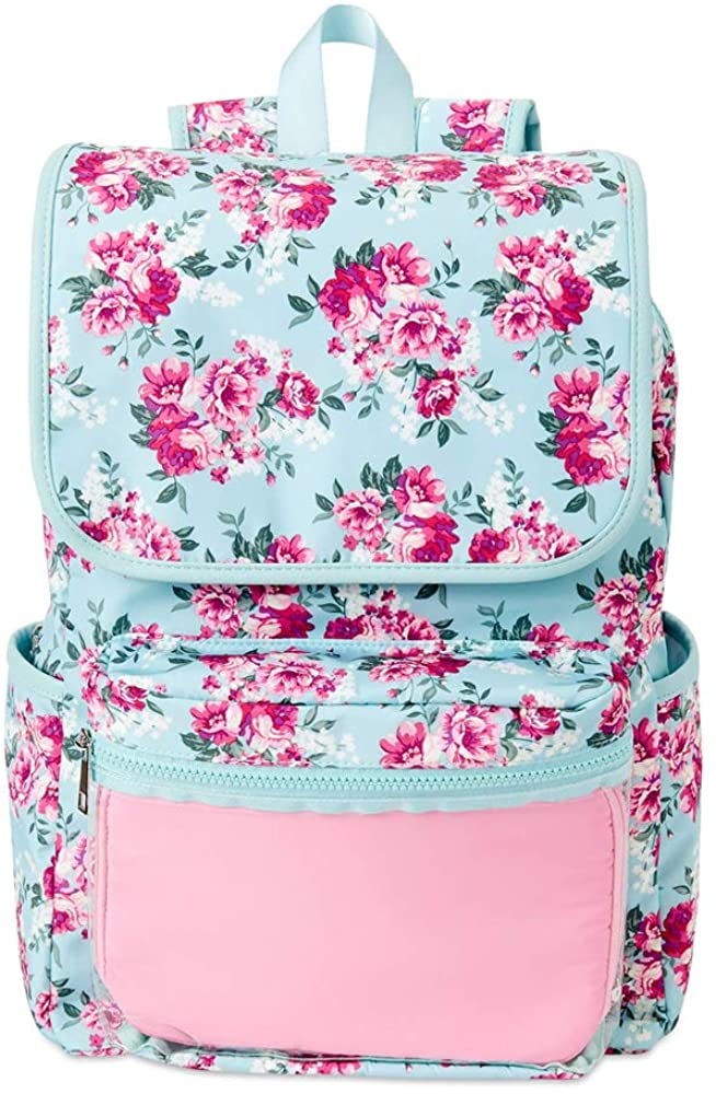 PG Products- Nylon Flap School Backpack with Beautiful Vinyl Pocket