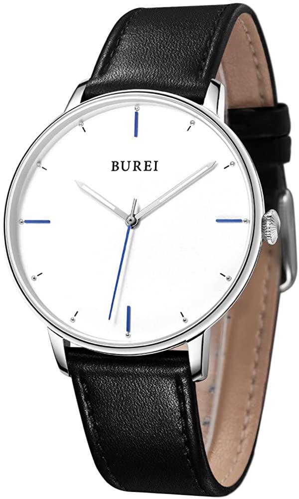 BUREI Men Women Ultra Slim Minimalist Quartz Watches with Big Dial Date Leather Band