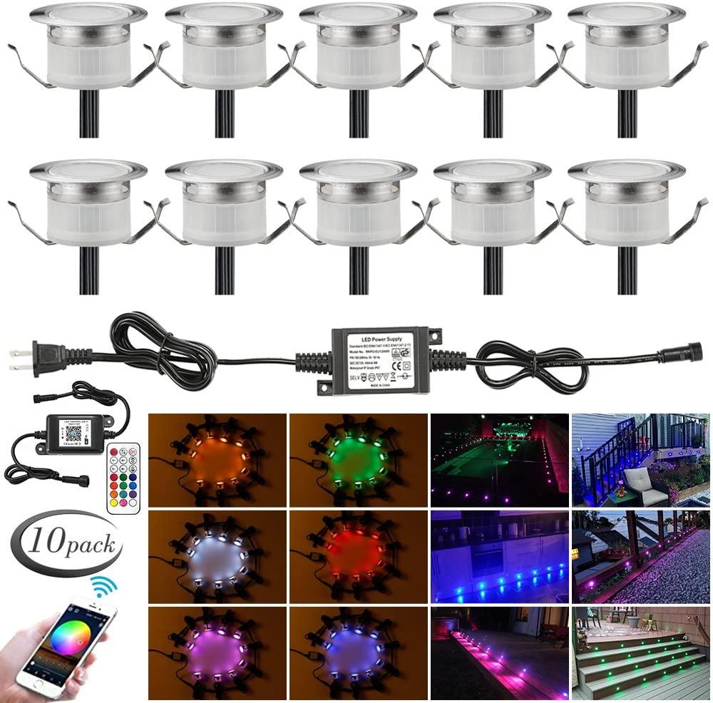 LED Deck Lights Kit, 10pcs Φ1.22
